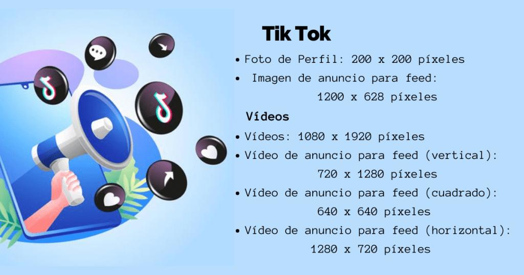 Tamaños recomendados en Tik Tok